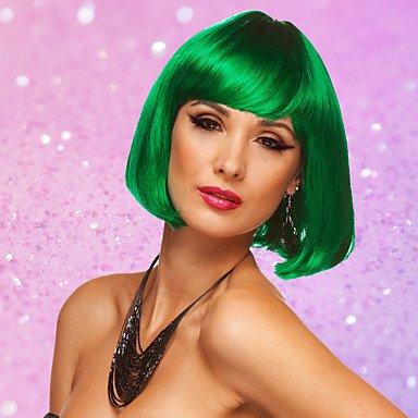 Peluca corta recta de pelo para mujer, color rosa, blanco, verde, peluca