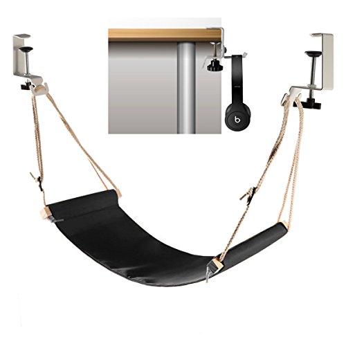 Foot hammock under desk with headphones holder | Upgraded adjustable ergonomic office feet rest |New Screw in rubber clamps | Suitable for all desks | Black