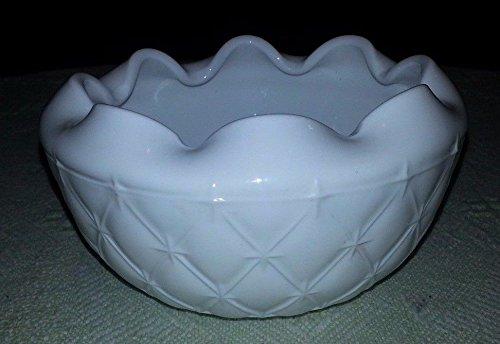 Opaque White Milk Glass (Vintage Milk Glass Candy Dish w Ruffled Rim & Star Pattern)