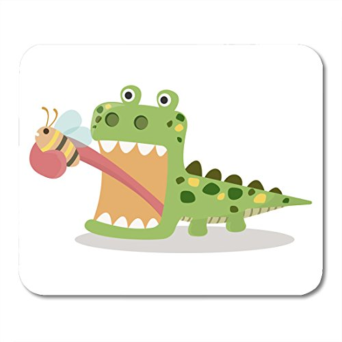 Boszina Mouse pad Alligator Cute Lizard Eating Bug with Tongue Cartoon Green Funny White Frog Animal Office Supplies mouses pad 9.5x7.9 Inches Mousepad