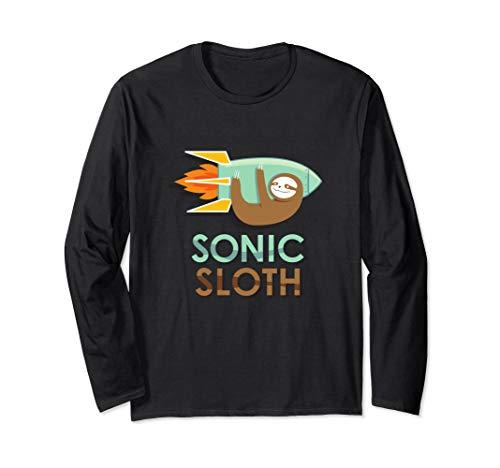 Sonic Sloth Long Sleeve T-Shirt - Funny Rocket Flying -