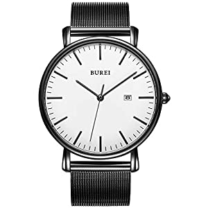 BUREI Men's Fashion Minimalist Wrist Watch Analog Date with Stainless Steel Mesh&Leather Band 16