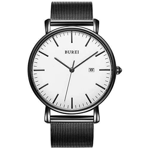 BUREI Men's Fashion Minimalist Wrist Watch Analog White Date with Black Stainless Steel Mesh Band (White Black)