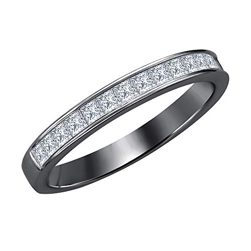 tusakha 1.10ctw Princess Cut White CZ Diamond Half Eternity Wedding Band Ring for Men's 14k Black Gold Plated 925 Sterling Silver
