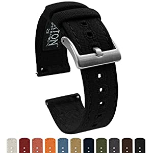 22mm Black – Barton Canvas Quick Release Watch Band Straps – Choose Color & Width – 18mm, 19mm, 20mm, 21mm, 22mm, or 23mm