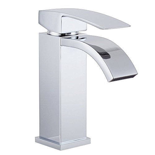 chic Waterfall Spout Vessel Sink Faucet, Dankan Bathroom Lavatory Brass Waterfall Mixer Tap with Extra Large Spout Single Handle Chrome
