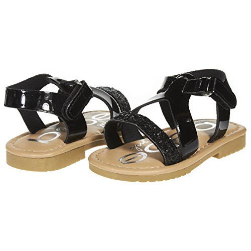 bebe Girls Toddler/Little Kid Metallic Slingback Glitter Strap Flat Sandal With Velcro Size 8 Black