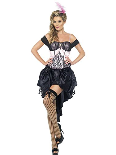 Smiffys Women's Madame L'Amour Burlesque Costume, Top, Drawstring Skirt and Feather Hair Clip, 20's Razzle Dazzle, Size 6-8, 22356