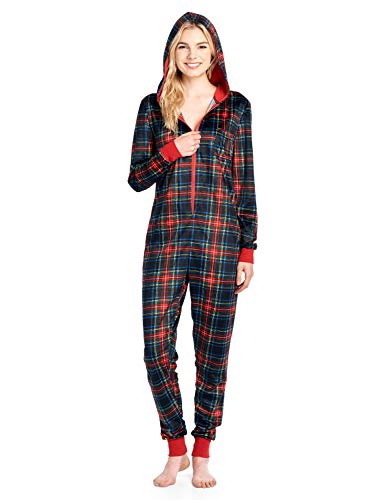 Ashford & Brooks Women's Mink Fleece Hooded One Piece Pajama Jumpsuit - Black Stewart Plaid - Small