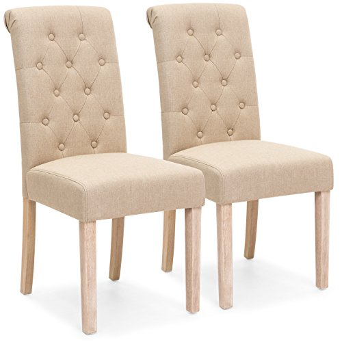 (Best Choice Products Set of 2 Tufted High Back Parsons Dining Chairs (Tan))