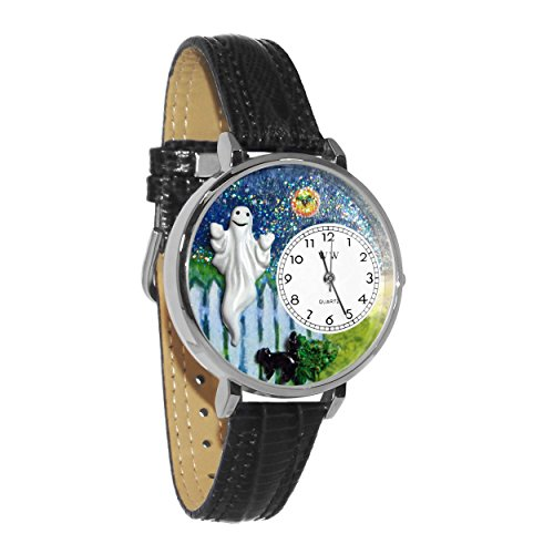 Whimsical Watches Unisex U1220032 Halloween Ghost Black Skin Leather Watch