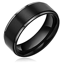 Promotion TIGRADE 8 mm Men's Titanium Black Brushed Center Polished Step Edge Ring Wedding Band Size 4-15