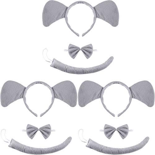 WILLBOND 9 Pieces Animal Costume Set Include Headband Bowtie and Tail for Halloween Cosplay Costume or Party Decoration (Style Elephant)]()