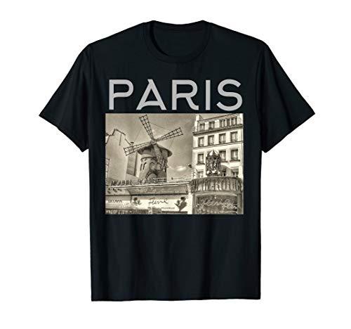 Paris France Moulin Rouge sepia image T-shirt (Moulin Rouge T-shirts)
