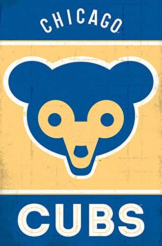 (Trends International Chicago Cubs-Retro Logo Mount Bundle Wall Poster 22.375