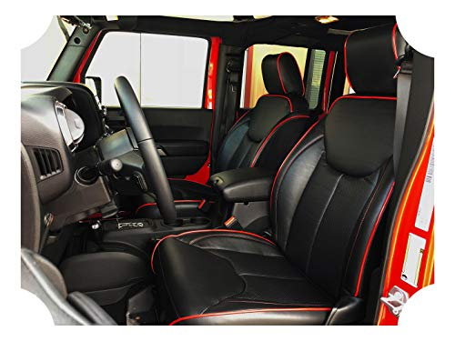 Prestige Wrangler Seat Cover Kit - Black Syn Leather w/Red Stitching/Piping - Perforated - Compatible with Jeep Wrangler JK 4DR Unlimited - Fits 2013-2018 ()