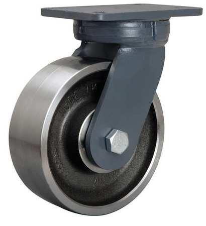 Swivel Kingpinless Plate Caster, Steel, 8 in, 6000 lb