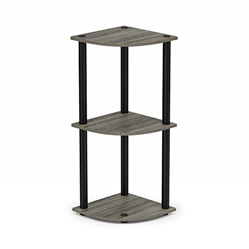 Furinno Turn-N-Tube 3-Tier Corner Display Rack Multipurpose Shelving Unit, French Oak Grey/Black (Oak Living Room Shelving Units)