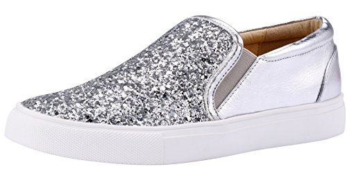Sneakers Shoes Fashion On Sofree Comfortable Slip Women's Glitter Silver Flat 8T68pqYwn
