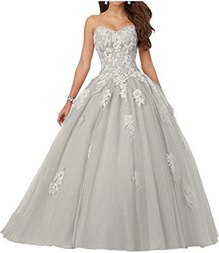 Lang Abendkleider Applikation Bride Anmutig Ballkleider Promkleider Milano Quincenera Spitze Rosa Silber Weiss xCvT1CqnUw