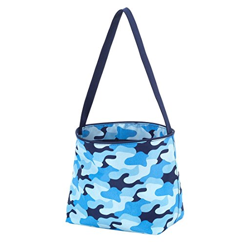 Dots Blue Personalized Gift Basket - Polka Dot Stripe Fabric Bucket Basket Tote Toy Storage Container (Personalized, Cool Camo)