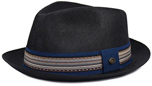 urbanhatshop Mens Summer Fedora Hat, Linen Cotton Blend Stingy Brim, Porkpie Hat (Black, L/XL)