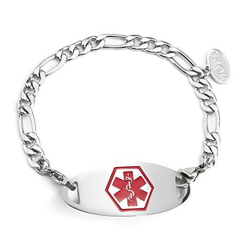 AMOZO JEWELRY Figaro Chain Pacemaker Medical Alert Bracelet for Women Red Medical ID Tag ()