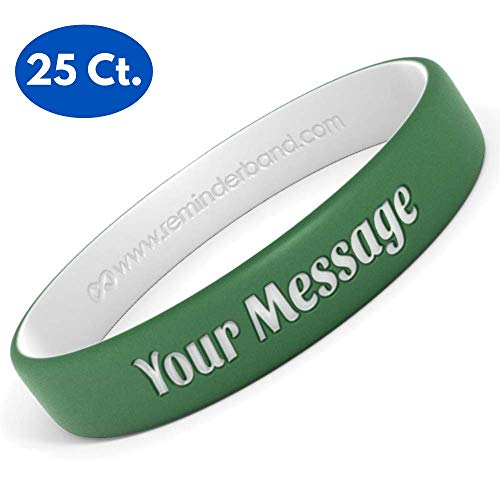 Reminderband 25 Custom Luxe Silicone Wristbands - Personalized Silicone Rubber Bracelets - Customized, Gifts, Support, Causes, Fundraisers, Awareness - Men, Women, Kids (Cancer Hand Bands)