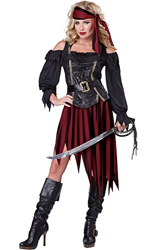 [California Costumes Women's Queen Of The High Seas Sexy Pirate Swashbuckler Buccaneer, Black/Burgundy,] (Costumes Pirate Woman)