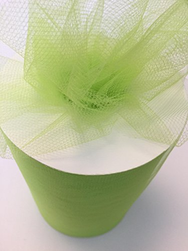 (Tulle Fabric Spool/Roll 6 inch x 100 yards (300 feet), 34 Colors Available, On Sale Now! (apple green) )