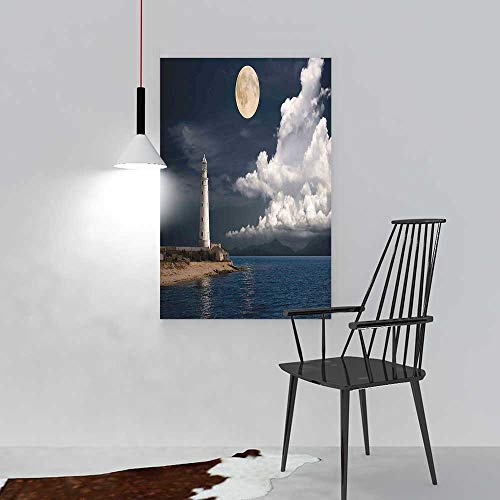 Wall Art Painting Frameless Lighthouse at Moonlight Island Isle Large Clouds Sea Seaside Waterfront Night Time Bay Posters Wall Decor Gift W16 x (Moonlight Bay Poster)