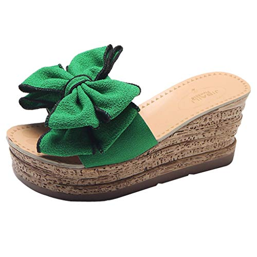 Woman Bow Wedged Outdoor Slippers Retro High Waterproof Platform Roman Sandals Casual Non Slip Beach Slippers Shoes (Green, 6.5 M US)