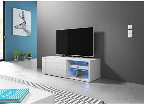 Price Factory Just For You Meuble Tv Design Brest Hit 100 Cm 1 Porte Et 2 Niches Coloris Blanc Brillant Amazon Fr Cuisine Maison