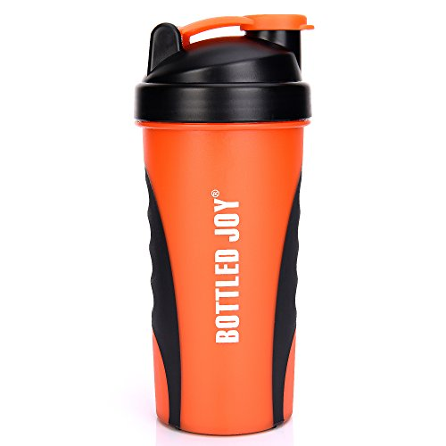 800 Ml Bottle (BOTTLED JOY Protein Shaker Bottle, Non-toxic Wide Mouth 100% Leak Proof Shake Water Bottles 27oz 800ml (Orange))