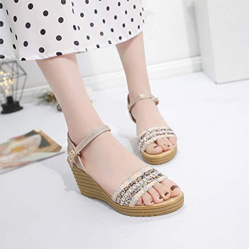 065238b21f7 Amazon.com  Womens Casual Sequin Wedge Sandals