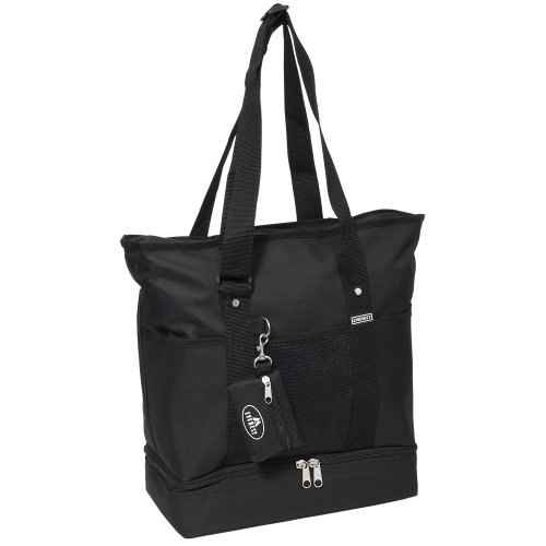 Everest Luggage Deluxe Shopping Tote, Black, Black, One - Tote Top Zip