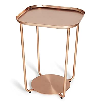 Umbra Annex Side Table, Copper - Annex Side Table by Umbra Plated metal side table with stamped metal base Compact size makes it a great fit for small spaces and in many areas of the home - living-room-furniture, living-room, end-tables - 41CUsX%2BpsxL. SS400  -