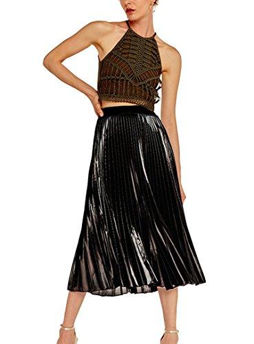 Jupe Plisse pour Femme Jupe Taille Haute Ceinture lastique Maxi en Queue De Poisson Jupe De Plage Jupe De Fte Noir