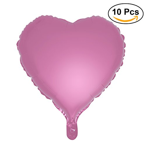 Pink Foil Heart - TOYMYTOY Pack of 10 Heart Shape Foil Balloons for Wedding Birthday Party Decoration,18