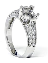 Pave Diamond Engagement Semi Mount Ring 14K White Gold Setting