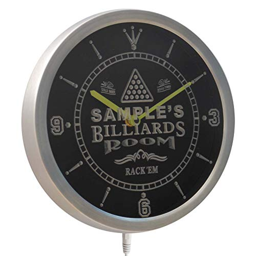 ADVPRO ncpj-tm Billiards Room Personalized Your Name Bar Beer Sign Neon LED Wall Clock