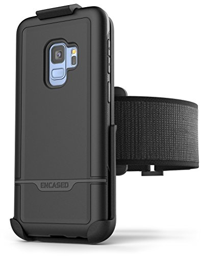 (Samsung Galaxy S9 Armband Set - Lightweight (Clip'N'Go) Workout Band w/Rebel Tough Case (Fully Size Adjustable XS-XXL) (Black))