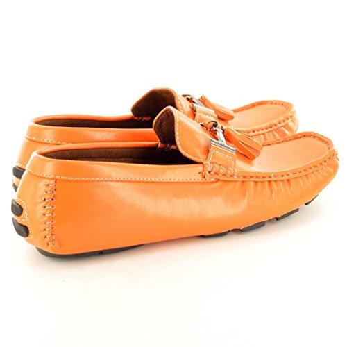 Quasten Schuhe Slipper mit Orange Herren Verzierung Slipper Mokassins xPpXqq6