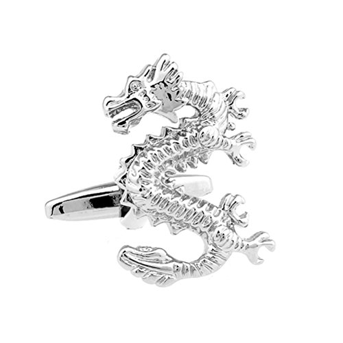 - Silver Chinese Standing Dragon Symbol Cufflinks Shirt Suit Wedding Cuff Links