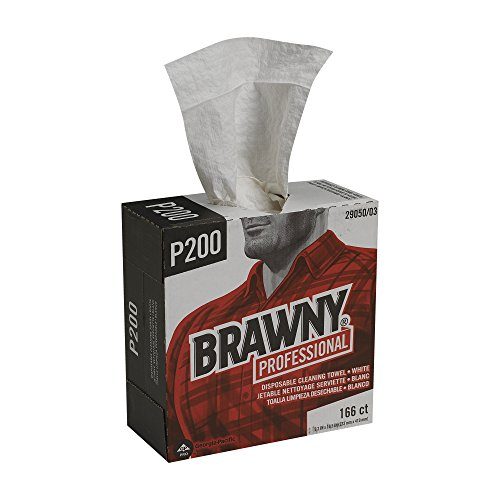Brawny Professional P200 Disposable Cleaning Towel by GP PRO, 29050/03, Medium Duty, Tall Box, White, 5 Boxes @ 166 Count by Brawny