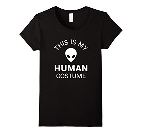 Womens Alien Halloween Costume Shirt Funny for Women Men Kids Large Black