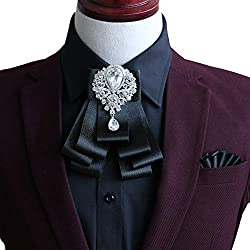 Men's Pre Tied Ribbon Bow Tie With Crystal Brooch