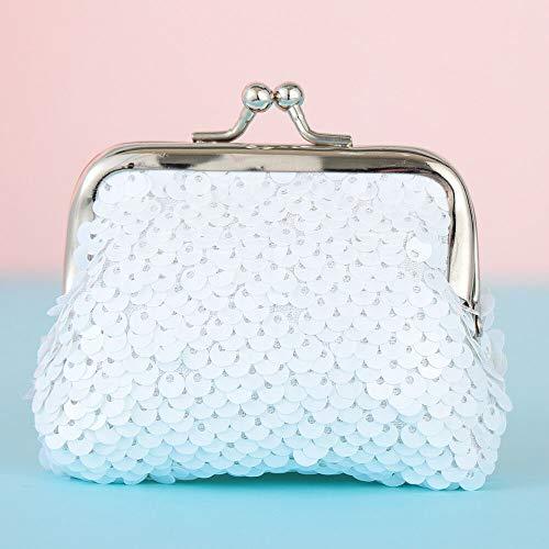 Bags Sequins Coin Purse Card Holder Hasp Mini Wallet Clutch Handy Purse (Size - Pure white white (8X6cm))