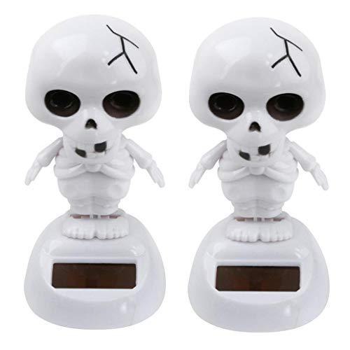 Iuhan  Solar Powered Skull Bobble Head Toy Halloween for Kids Adults, 2Pcs/ 5Pcs Halloween Solar Powered Dancing Skull Swinging Animated Bobble Dancer Toy Car Decor (2Packs) -