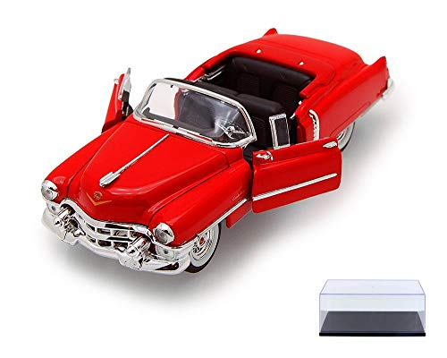 Welly Diecast Car & Display Case Package - 1953 Cadillac Eldorado Convertible, Red 22414 - 1/24 Scale Diecast Model Toy Car w/Display Case